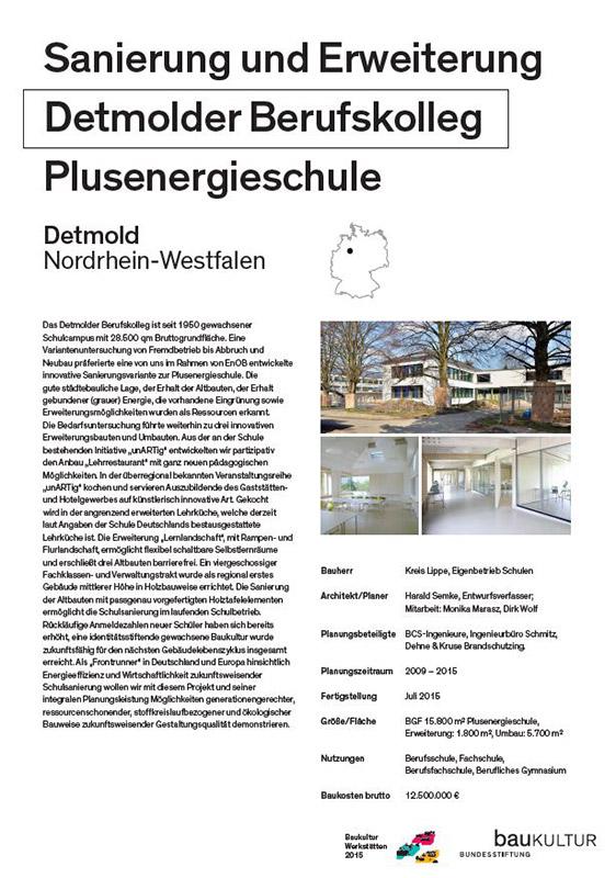 Poster Plusenergieschule: BestPractice-Beispiele der Bundesstiftung Baukultur innerhalb der Baukultur Werkstätten 2015 Stadt und Land,