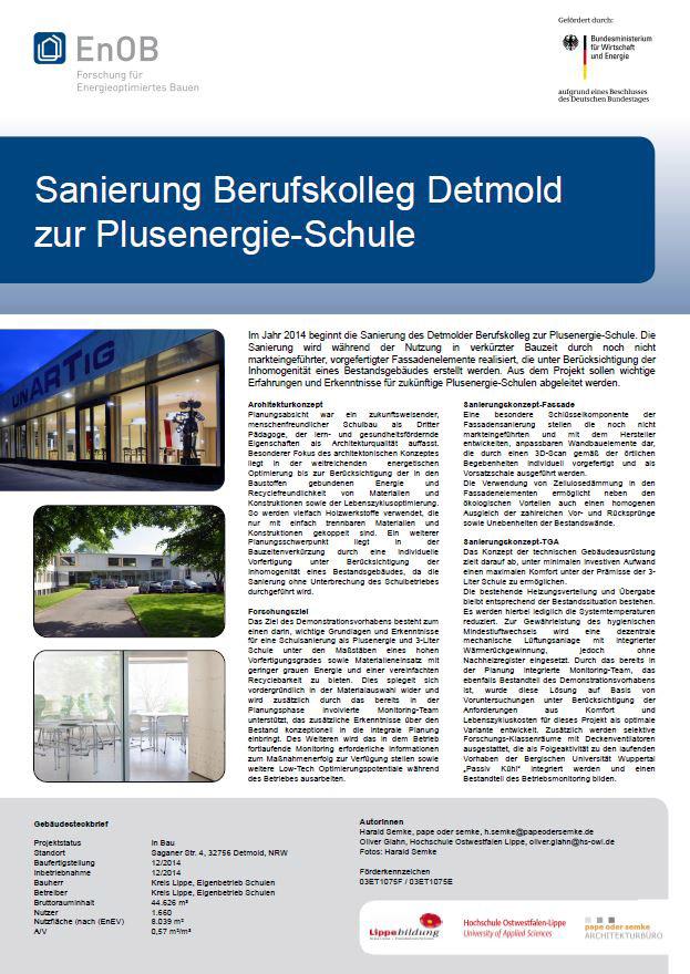 Poster mit Projekt-Präsentation auf dem EnOB-Symposium 2014 am 20. + 21.03.2014, Zeche Zollverein in Essen (Poster P 4-11)